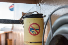 Do not smoking sign on boat Royalty Free Stock Image
