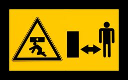 Do not stay in the unprotected loading area, risk of falling material. Warning sign royalty free illustration