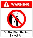 Do not step behind swivel arm sign. No people under raised load. Flat illustration isolated on white. Warning banner. Do not step behind swivel arm sign. No royalty free illustration