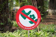 Do not step on flower sign Stock Photo
