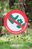 Do not step on flower sign Royalty Free Stock Image