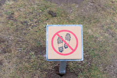 Do not step on grass sign Stock Images