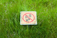 Do NOT step on the grass sign at Icelandic national park. Stock Photos