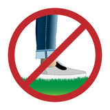 Do not step on grass sign. Prohibition sign, Do not walk on lawns royalty free illustration