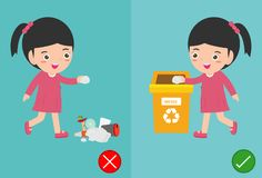 Do not throw littering butts on the floor,wrong and right, female character that tells you the correct behavior to recycle.vector. Illustration royalty free illustration