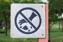 Do not throw rubbish sign. In the park stock images