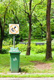 Do not throw rubbish sign in the park Stock Images