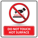 Do not touch hot surface danger signs  Stock Photography