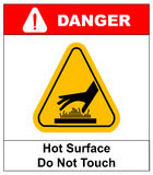 Do not touch hot surface danger signs illustration vector Stock Images