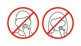 Free Do Not Touch Your Face Icon On White Background Stock Photos - 176664323