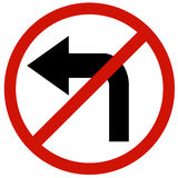 Do not turn left sign board Royalty Free Stock Photos