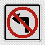 symbol Do not turn left traffic sign on transparent background vector illustration