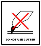 Do not use the cutter sign. Packaging signs or packaging symbols. Packaging symbol standard and care pack. Vector Royalty Free Stock Photography