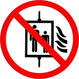 Do not use elevator in case of fire, earthquake Prohibition sign. Royalty Free Stock Photo