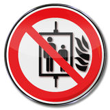 Do not use elevator in case of fire Royalty Free Stock Images