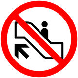 Do not use escalator, moving staircase with unattended child. Prohibition sign. Royalty Free Stock Photo