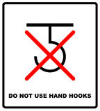 Do not use hand hooks package sign. For use on cardboard boxes, packages and parcels. Vector illustration Stock Photography