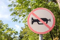 Do not use vehicles horn sign stick on tree. Stock Images