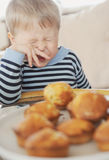 Do not want. Boy do not want to eat Stock Photography