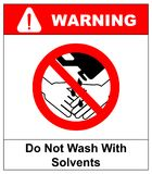 Do Not Wash Hands With Solvents Sign. Vector illustration. Warning banner. Red prohibition symbol. Forbidden Sign Royalty Free Stock Photo