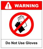 Do not wear gloves, prohibition sign, vector illustration. Stock Images