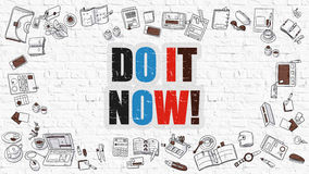 Do it Now Concept with Doodle Design Icons. Stock Images