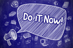 Do IT Now - Hand Drawn Illustration on Blue Chalkboard. Royalty Free Stock Photos