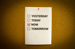 Do it now. Motivation concept. A4 checklist on tha board Stock Image