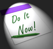 Do It Now! Notebook Displays Motivation Or Urgency Stock Photography
