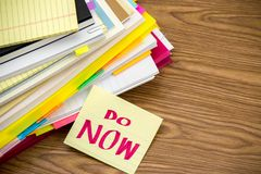 Do Now; The Pile of Business Documents on the Desk Stock Images