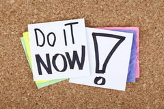 Do it now, time for action concept note Royalty Free Stock Image