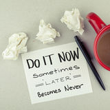 Do it now, time for action concept note stock photography