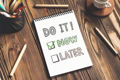 Do It Now and Time Management. Do It Now and  Management Concept royalty free stock images