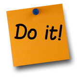 Do it Orange Post-it Pushpin White Royalty Free Stock Photos