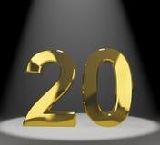 Do ouro 20o ou vinte número 3d Fotos de Stock