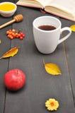 Do outono copo da vida ainda do chá, do mel e do livro na tabela Fotografia de Stock Royalty Free