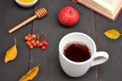 Do outono copo da vida ainda do chá, do mel e do livro na tabela Fotografia de Stock