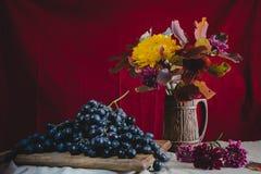 Do outono uvas da vida ainda e flores do outono Foto de Stock Royalty Free