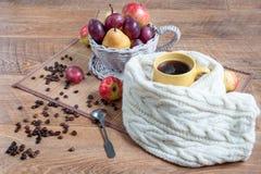 Do outono vida ainda com os vários presentes da natureza Feijões da xícara de café e do cofee Imagem de Stock