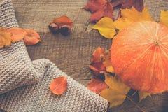 Do outono vida ainda Folhas de outono, lenço morno e abóbora na madeira Imagens de Stock Royalty Free