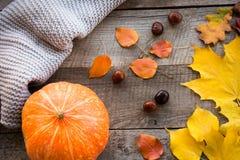 Do outono vida ainda Folhas de outono, lenço morno e abóbora na placa de madeira Vista superior Foto de Stock