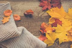 Do outono vida ainda Seque as folhas, lenço morno na placa de madeira Foto de Stock