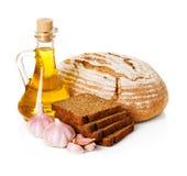 Do país vida rural ainda. Pão, óleo de girassol Imagem de Stock