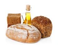Do país vida rural ainda. Pão, óleo de girassol Fotos de Stock Royalty Free