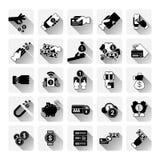 Do pagamento sem contato móvel da operação bancária do dinheiro coleção moderna de compra ajustada ícones da tecnologia dos cartõ ilustração royalty free