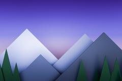 Do papel crepuscular da pilha do Mountain View fundo material 3d da camada Fotos de Stock
