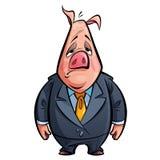 Do porco triste do político dos desenhos animados caráter animal com traje Fotografia de Stock Royalty Free
