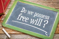 Do we possess free wil question on blackboard Stock Photo