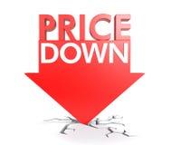 Do preço conceito para baixo Imagem de Stock