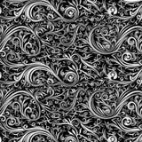Do preto abstrato do Batik do papel de parede redemoinho branco Fotografia de Stock Royalty Free